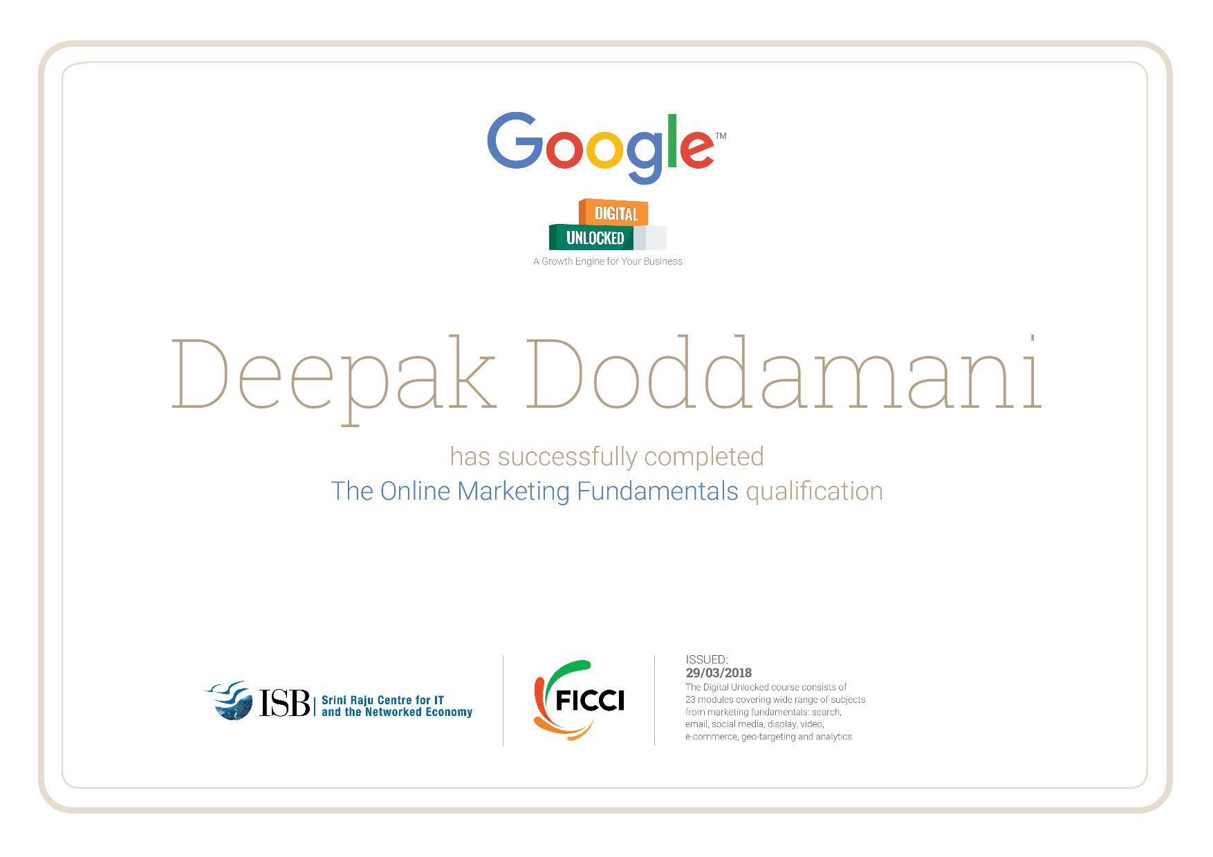 Google's Digital Marketing Certificate of Deepak Doddamani
